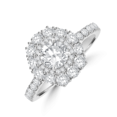 Platinum Solitaire Diamond Hexagonal Double Halo Ring
