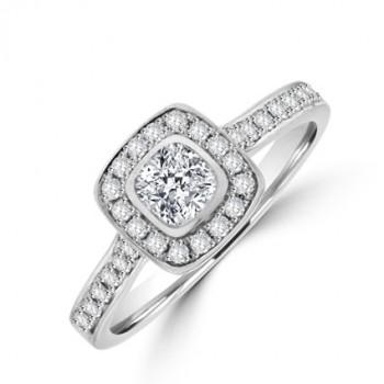 Platinum Cushion cut Solitaire Diamond Halo Ring