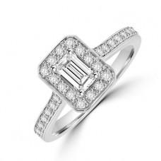 Platinum Solitaire Emerald cut Diamond Halo Ring