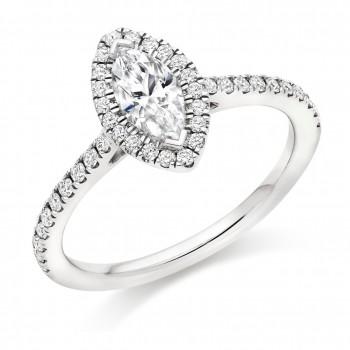 Platinum Solitaire Marquise Diamond Halo Ring