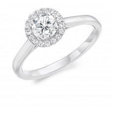 Platinum Solitaire GVS2 Diamond Halo Ring