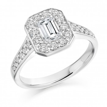 Platinum Emerald cut Diamond Halo Ring