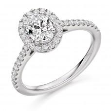 Platinum Solitaire Oval EVS2 Diamond Halo Ring