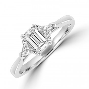 Platinum Emerald cut Solitaire with Trillions Ring