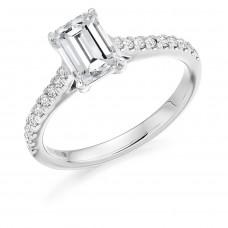 Platinum Emerald cut HVS2 Diamond Solitaire Ring