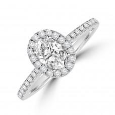 Platinim Solitaire Oval GVS1 Diamond Halo Ring