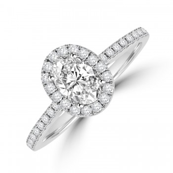 Platinim Solitaire Oval GVS1 Diamond Halo Ring