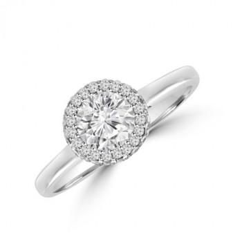 Platinum Solitaire Diamond 3D-Halo Ring