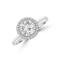 Platinum Solitaire FVS1 Diamond 3D-Halo Ring