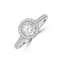 Platinum HSi2 Diamond 3D Halo Ring