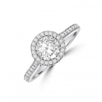 Platinum HSi2 Diamond 3D Halo Ring