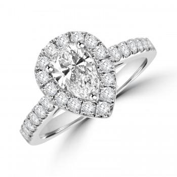 Platinum Pear cut ESi1 Diamond Halo Ring