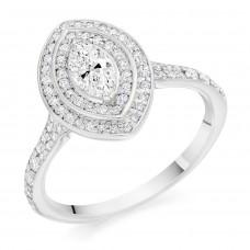 Platinum Marquise cut Diamond Double Halo Ring