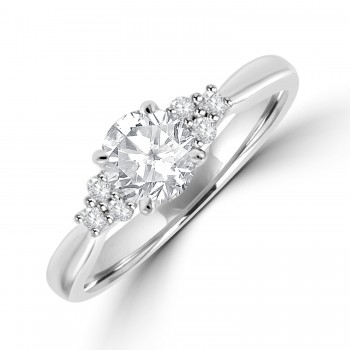Platinum Solitaire Diamond with Trilogy set Shoulders Ring