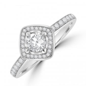 Platinum Solitaire GVS1 Diamond Compass Halo Ring