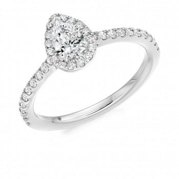 Platinum Pear cut EVVS1 Diamond Halo Ring