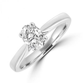Platinum Oval cut Solitaire .70DSi1 Diamond Ring