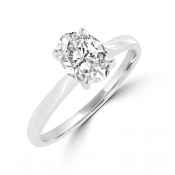 Platinum Solitaire 1.00ct Oval Diamond Ring