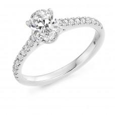 Platinum Oval Solitaire ESi1 Diamond Ring