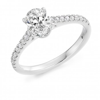 Platinum Oval Solitaire ESi1 Diamond Ring