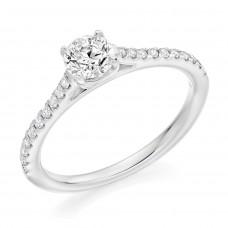 Platinum Solitaire GVS1 Diamond Ring with set shoulders