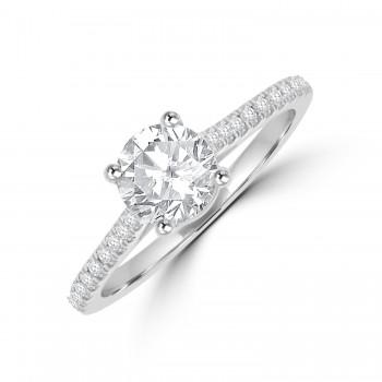 Platinum Solitaire DSi2 Diamond set Shoulders Ring