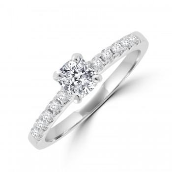 Platinum Solitaire Cushion EVS1 Diamond Ring