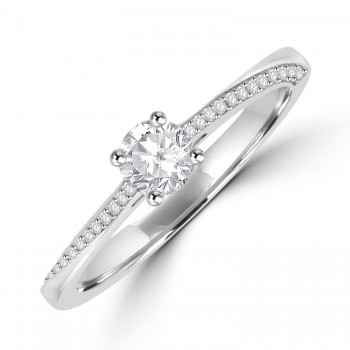 Platinum Solitaire FSi2 Diamond with Twist Diamond Shoulders