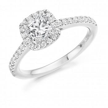 Platinum Cushion cut FSi1 Diamond Halo Ring