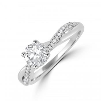 Platinum Solitaire GSi1 Diamond Twist Ring