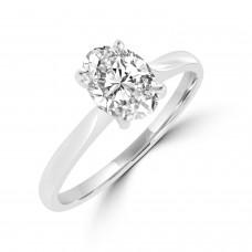 Platinum Solitaire Oval DSi2 Diamond Ring