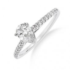 Platinum Pear Cut FVS2 Diamond Solitaire Ring