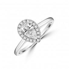 Platinum Pear ESi1 Diamond Halo Ring