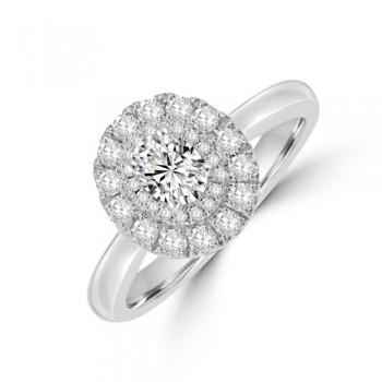 Platinum Oval DVS1 Diamond Double Halo Ring
