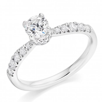 Platinum Solitaire ESi1 Diamond Gallery Halo Ring