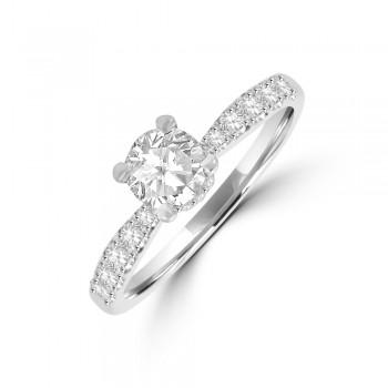 Platinum Solitaire ESi1 Diamond Gallery Halo Ring