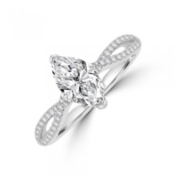 Platinum Marquise EVS2 Diamond Twist Ring