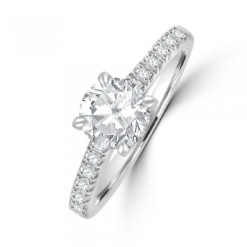 Platinum Solitaire DSi2 Diamond Ring with Castle Shoulders