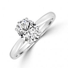 Platinum Oval Solitaire DSi2 Diamond Ring