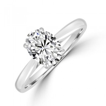 Platinum Oval Solitaire DSi2 Diamond Ring
