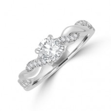Platinum Solitaire FSi1 Diamond Twist Ring