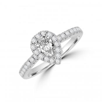 Platinum Pear DSi1 Diamond Halo Ring
