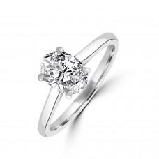 Platinum 1.00ct Oval DSi1 Diamond Solitaire Ring