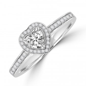Platinum .37ct Heart FSi1 Diamond Halo Ring