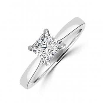Platinum .70ct Princess .70ct Diamond Solitaire Ring