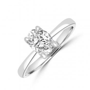 Platinum .72ct Oval DSi1 Diamond Solitaire Ring