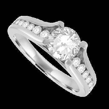 Platinum Solitaire GSi1 Diamond Half Hoop Ring