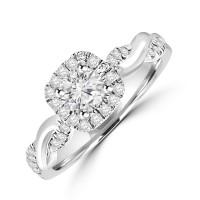 Platinum Diamond Halo ring with Twisted shank