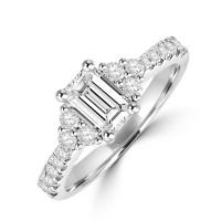 Platinum Emerald cut ESi1 Diamond Trefoil Ring