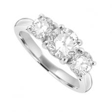 Platinum 3 Stone Diamond 4-claw Ring